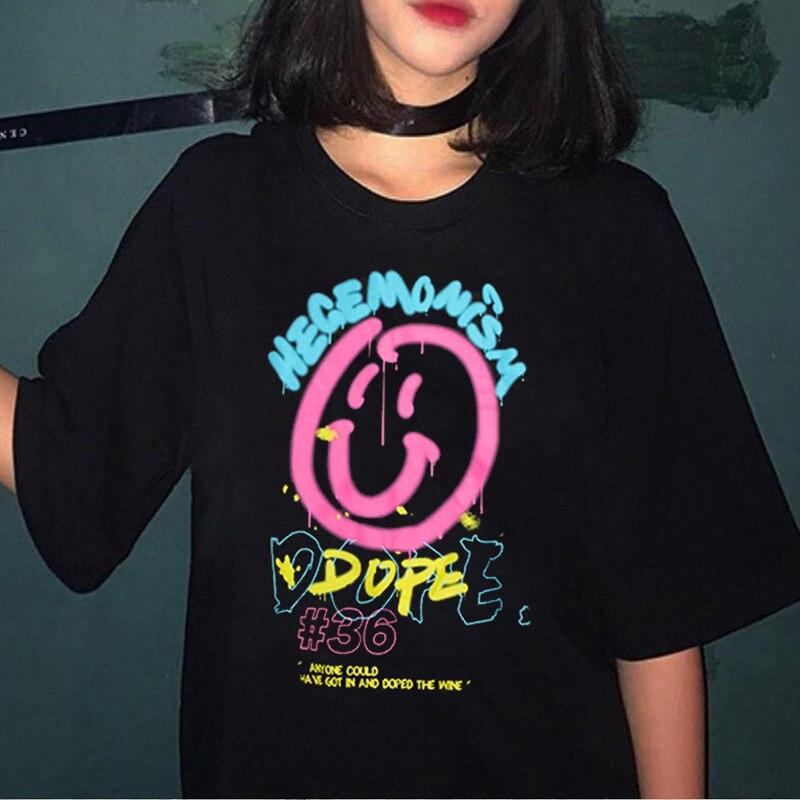Женская футболка со смайликом и граффити, 90 s, Harajuku Ullzang, Милая футболка с графическим принтом, модная Эстетическая футболка, уличные футболки для женщин