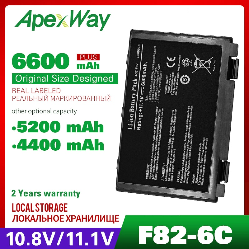 11,1 В Аккумулятор для ноутбука Asus K40 K40IN K50 K50IN K50IE K50IJ K60 K61 A32-F82 A32-F52 A32 F82 X8B k50in Pro8DIJ K70AS-X2A k61ic