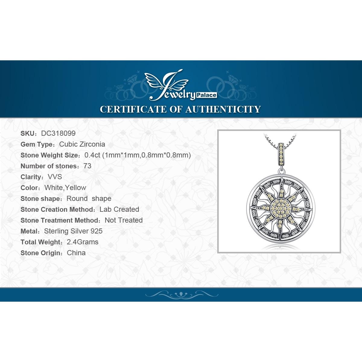 Купить с кэшбэком JewelryPalace Celestial Sun 925 Sterling Silver Cubic Zirconia Charm Statement Pendant Necklace Women Jewelry No Chain