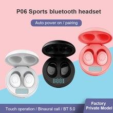 Originele P06 Tws Air Bluetooth 5.0 Draadloze Oordopjes Mini Sport Stereo Headset Led Power Display Oordopjes Voor Ios Android Xiaomi