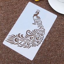 Pavo Real tótem flor en forma de esténcil reutilizable aerógrafo pintura arte pastel espray molde DIY decoración artesanías
