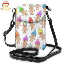 Bolso de hombro Troll, bolso de cuero de Troll, bolso Mini con patrón para mujer, bolsos cruzados a la moda, bolso de compras de alta calidad