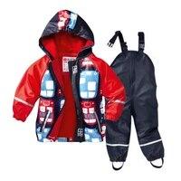 boys and girls waterproof suit pu raincoat plus velvet and