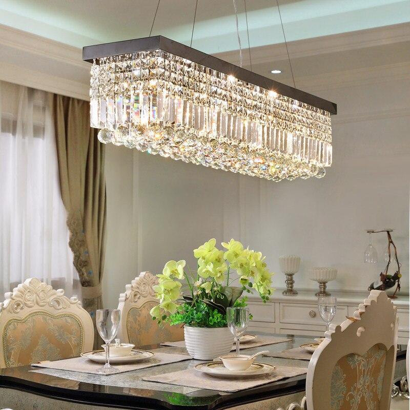 ثريا كريستال LED مستطيلة الشكل ، تصميم حديث ، إضاءة داخلية ، إضاءة سقف زخرفية ، مثالية لغرفة المعيشة ، غرفة النوم ، المطبخ أو غرفة الطعام.