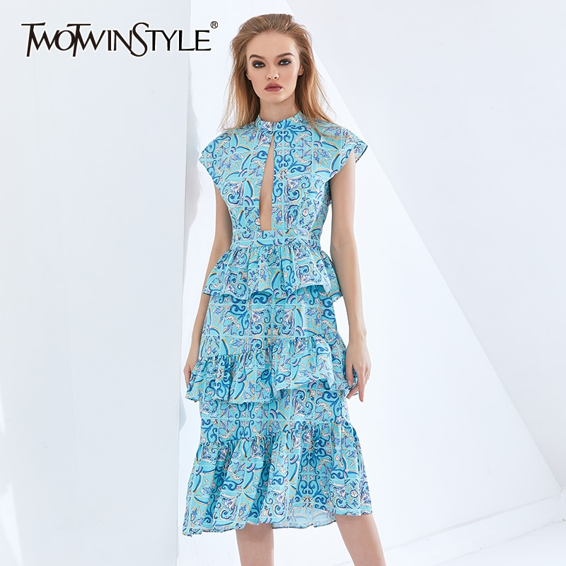 TWOTWINSTYLE طباعة هندسية فستان مكشكش للنساء بلا أكمام عالية الخصر الجوف خارج فساتين الإناث المرأة Cltothing 2021 جديد