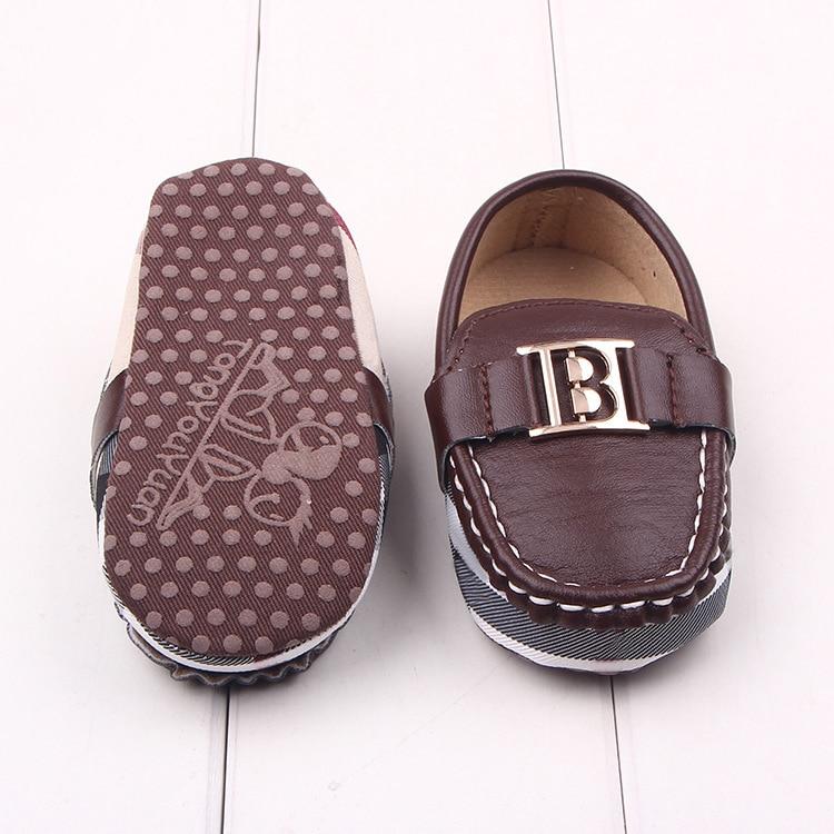 New hot sale fashion Brand Style Newborn baby shoes boys girls Unisex Plaid stripe PU soft sole infa