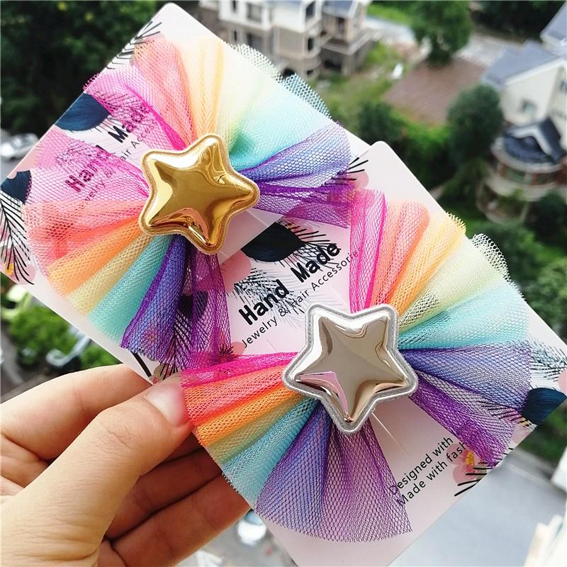 New 200pcs/Lot New Rainbow Prince Stars Hair Clip Top Quality Modish Girls Multicolor Bows Hairpins Kid Headwear Barrettes Cute