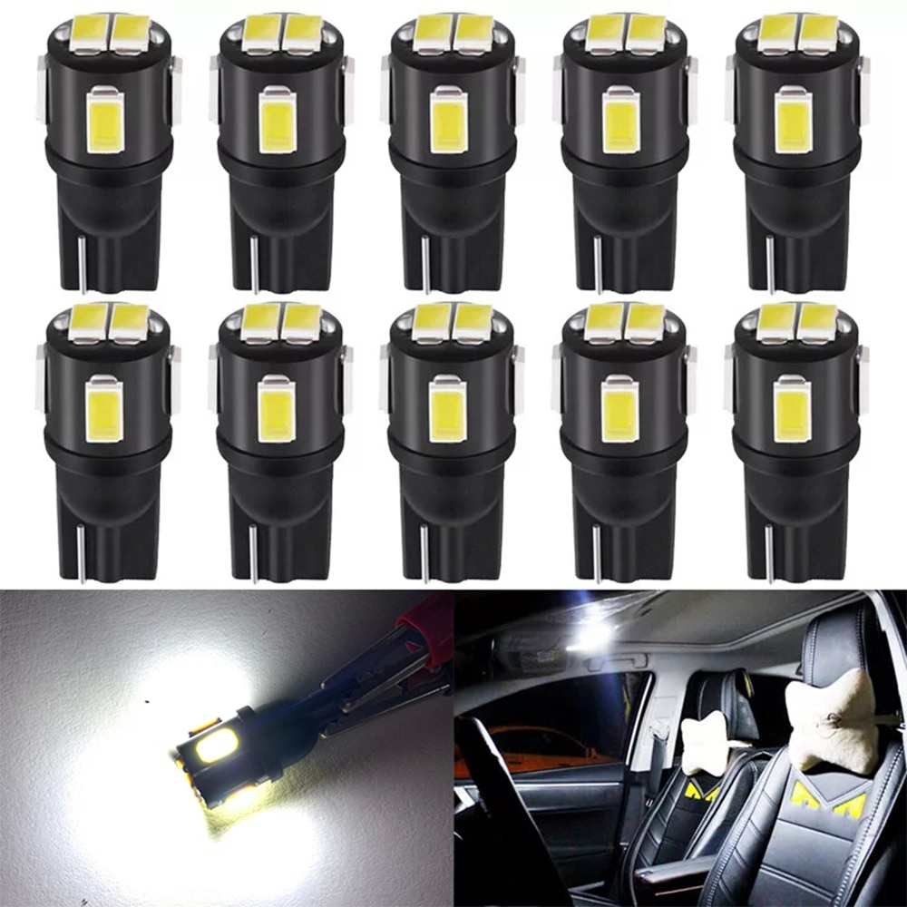 10x newest t10 194 168 w5w 6smd 5730 car led silicone shell auto dome parking lights car side wedge light lamp bulb car styling 10PCS T10 W5W Led 5630 6SMD Wedge Bulb Auto Dome Reading Car Light Sidemarker Sidelight Parking Lights 194 168 Lamp Canbus Bulbs