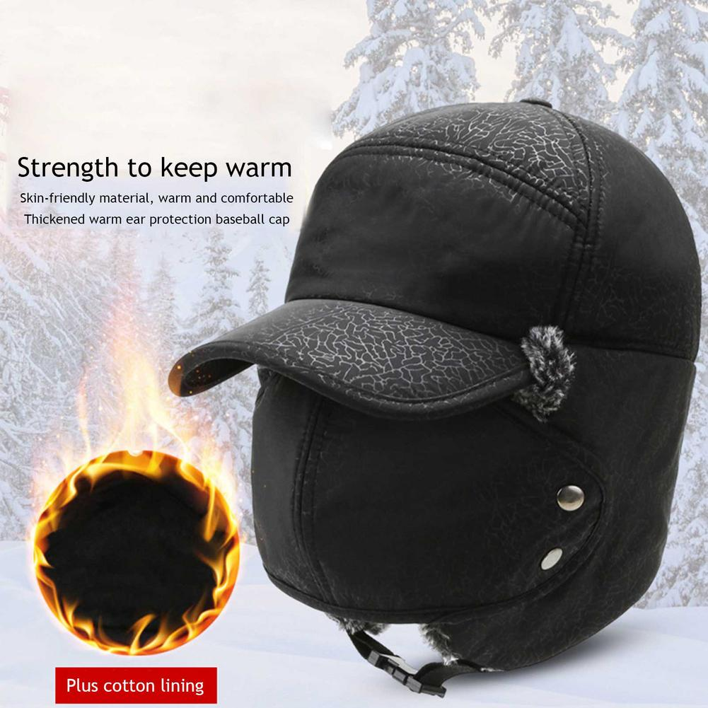 Winter Earflap Bomber Hat Windproof Waterproof Skiing Cycling Cap With Detachable Face Ear Protectio
