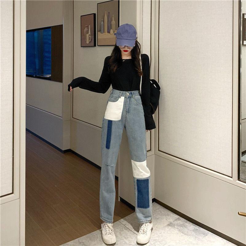 Женские джинсы, джинсы для мамы, джинсы с высокой талией, женские эластичные джинсы большого размера, эластичные джинсы, женские потертые дж...