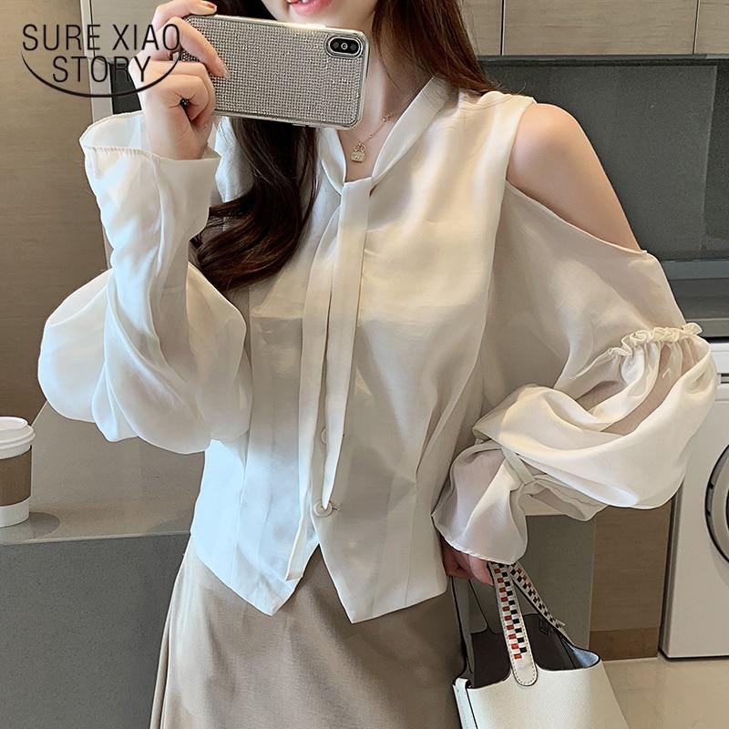 Blusas de mujer de moda 2019 blusa femenina blusa vintage de gasa de otoño ropa de moda coreana blusas de mujer lange mouwen 7027 50