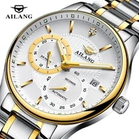 ailang new mens business 30m deep waterproof 24 hours stainless steel strap sapphire glass automatic mechanical watches 2007