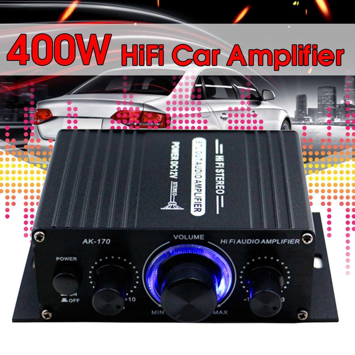 200 + 200w 12v amplificador de áudio de alta fidelidade amplificador de potência áudio estéreo bluetooth para amplificadores música do carro fm rádio usb/tf/aux