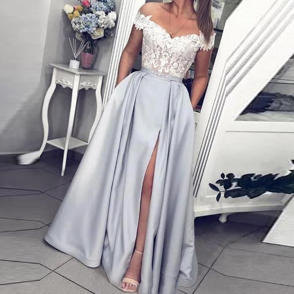 فستان سهرة طويل مكشوف الكتفين ، فستان ربيعي من الدانتيل ، صد ، نمط قلب عتيق ، بجيوب ، ثوب كرة
