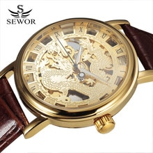 Chinese Style Dragon Watches Fashion Men Skeleton Watches Luxury Gold Mechanical Hand Wind Watches L