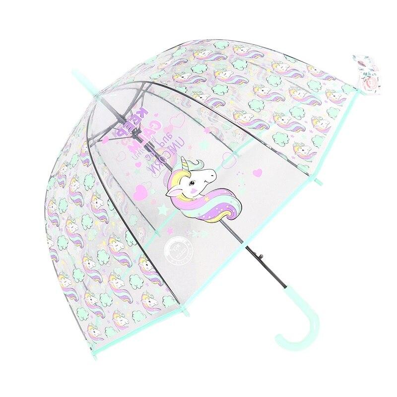 Crianças guarda-chuva unicórnio transparente guarda-chuvas crianças guarda-chuva a laser bonito dos desenhos animados alpaca menina guarda-chuvas sakura dropshipping