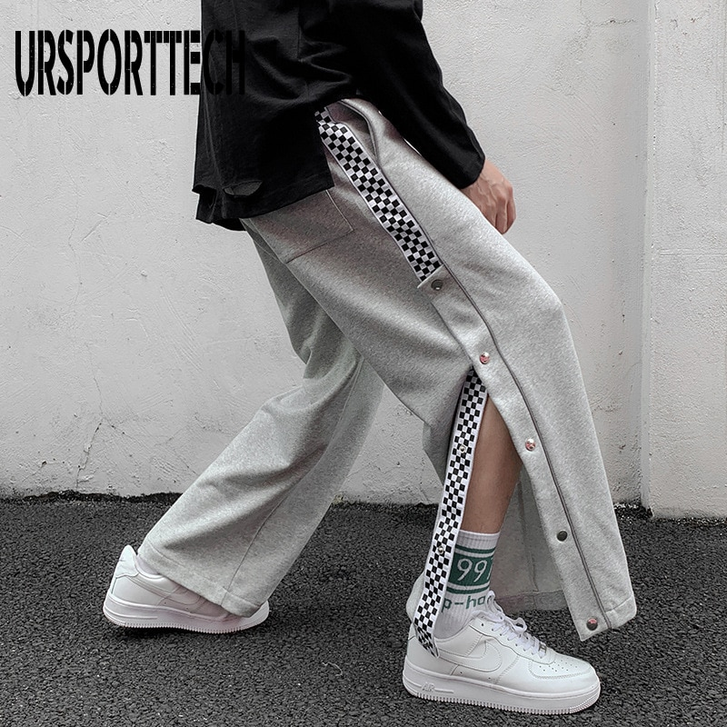 New Hip Hop Streetwear Joggers Pants Men Student Casual Cargo Pant Trousers High Street Elastic Waist Unlockable Button Pants