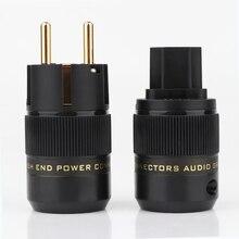 Одна пара P078E + C078 высокого класса 24K позолоченный Schuko AC Разъем питания + IEC разъем питания аудио адаптер питания Разъем
