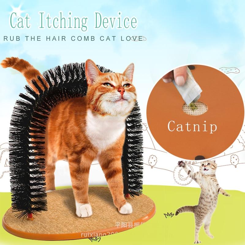 مريحة قوس القطط مدلك الحيوانات الأليفة القط الحكة التهيأ لوازم مستديرة الصوف قاعدة هريرة لعبة خدش جهاز فرشاة للحيوانات الأليفة