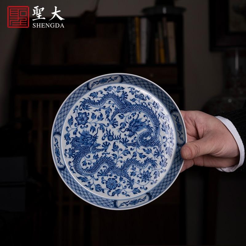 رسمت باليد سايكو متفوقا الحفاظ على jingdezhen الأزرق والأبيض التنين اللعب حبة حول فرع الحبوب صينية الشاي صينية الشاي