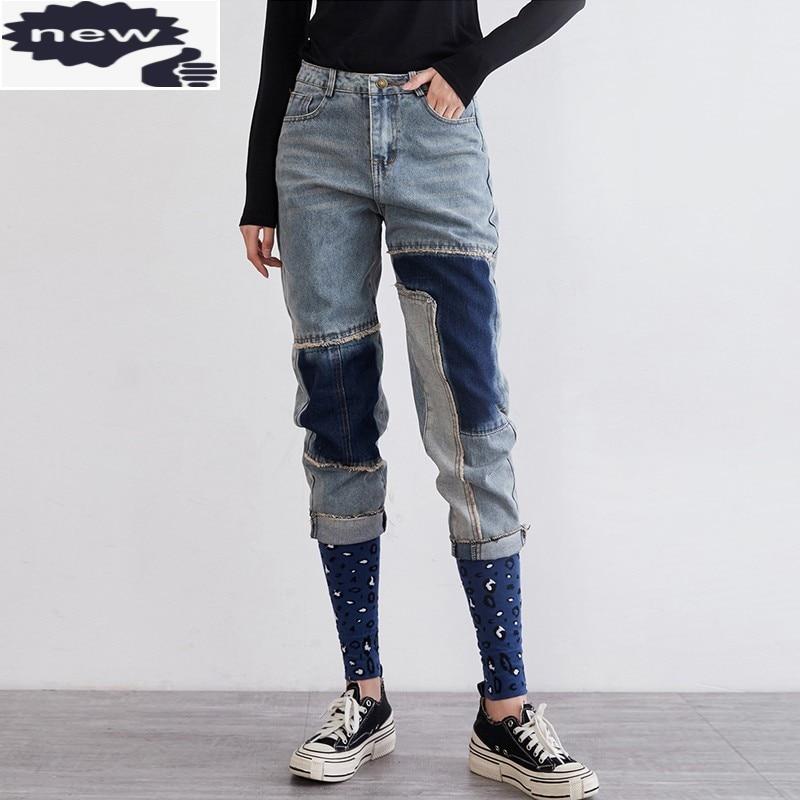 شخصية Vintage خليط ليوبارد جينز المرأة عادية عالية الخصر بنطلون الحريم موضة الإناث فضفاضة تناسب الدنيم السراويل
