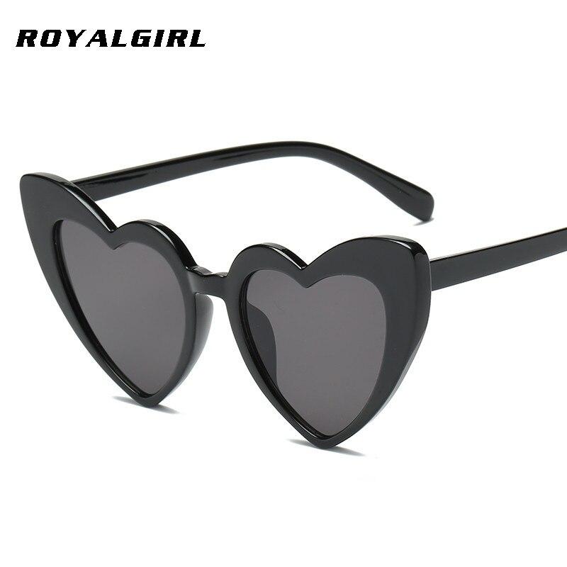 ROYAL GIRL Newest Love Heart Shape Sunglasses Women Vintage Black Pink Red Acetate Frame Gray Brown