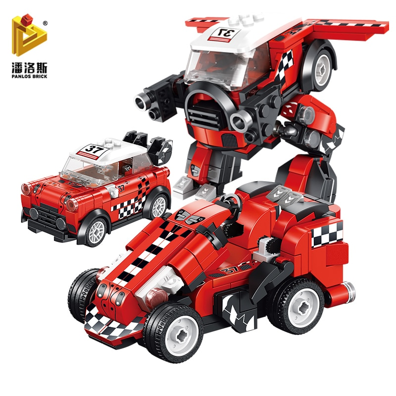 PANLOS 215pcs Super Racing Champion City Car Deformation Robot Model Rally Racer DIY Children's Toy Sticker Gift Building Blocks