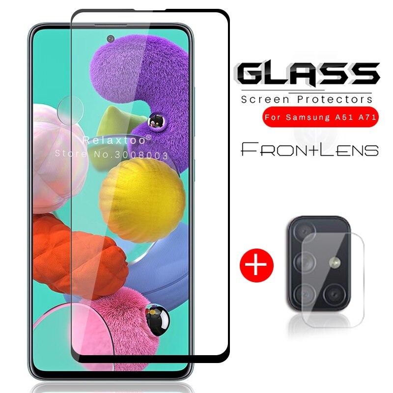 2-в-1 для samsung a 51 71 41 31 21 11 Защитное стекло для samsung galaxy a01 a11 a21 a31 a41 a51 a71 стеклянная пленка для экрана