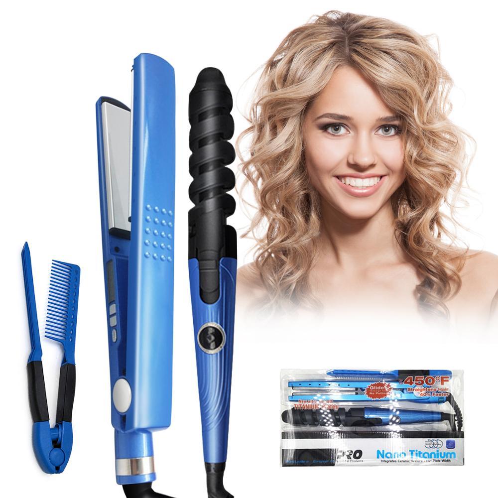 Plancha de pelo profesional plancha plana 11/4 Nano titanio 450f plancha de pelo alisadora de temperatura plancha utensilio de peluquería