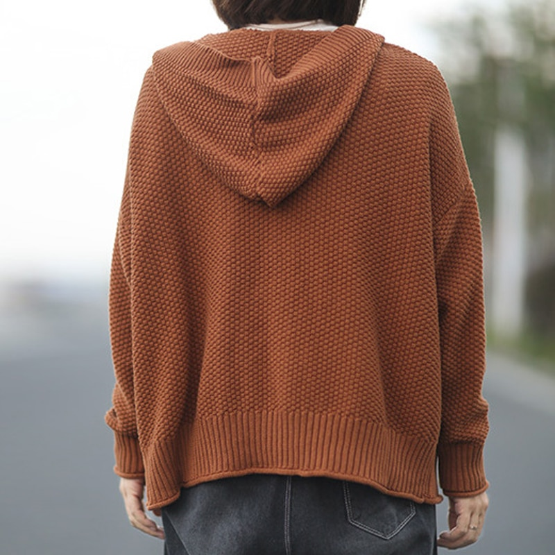 Johnature Korean Casual Loose Fashion All-match New Hooded Knitted Sweater Cardigan 2021 Autumn Simple Comfortable Women Sweatet enlarge