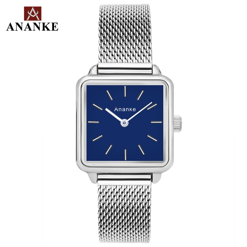 Ananke Women Watches Stainless Steel Mesh Strap Lady Waterproof Resistant Rose Gold Square Simple Dial Quartz Wristwatch AN25 enlarge