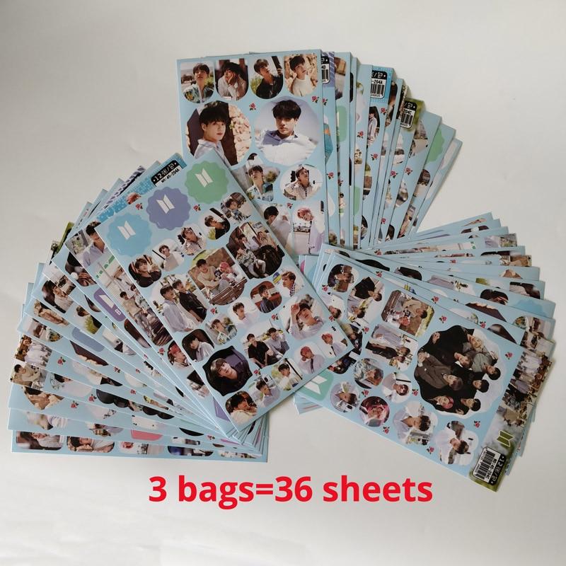 Lote de 36 hojas de pegatina de banda super star coreana, juguete ejército para chica, equipaje para niño, Skateboard, bomba portátil, juego de pegatinas resistentes al agua