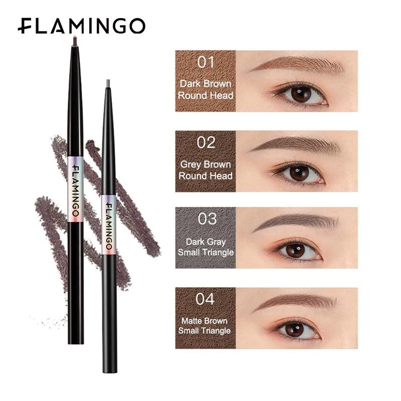 FLAMINGO 2pcs Black Fine Eyebrow Pencil Makeup Waterproof Long-lasting Natural Cosmetics Multicolor Eyebrow Brown Make Up