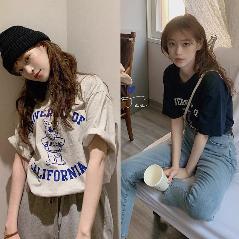 Two Piece Set Women South Korea Chic Spring And Summer Playful Age Reduction Letter Cartoon Printed