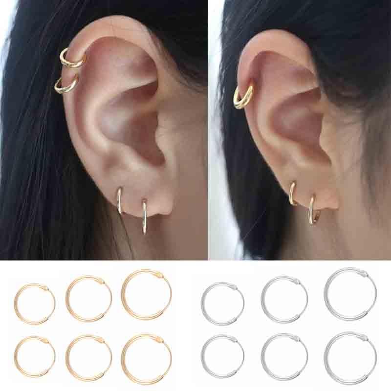 Простые серьги-кольца для женщин, ушные серьги в стиле панк золотого и серебряного цвета в стиле хип-хоп вечерняя Подарочная бижутерия, 6 шт.