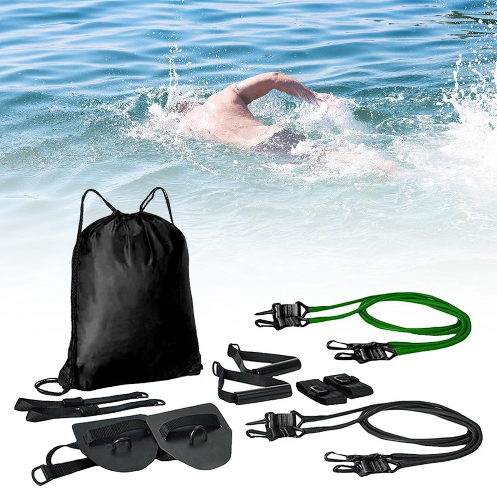 Treinamento de Natação Faixa de Treinamento para Piscina Banda com Alças Treinamento de Força Ajustável Resistência Elástica Cinto Conjunto Nadar