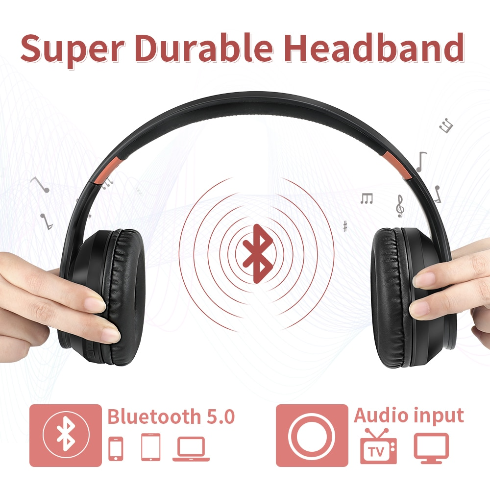 LOBKIN Bluetooth Headphones Noise Reduce Wireless Wired Headset Fold-able Hi-Fi Stereo Sound Earphones With Mic For PC Headphone enlarge