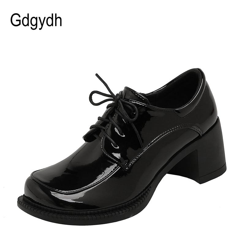 Gdgydh 2021 جديد الربيع مربع اصبع القدم الدانتيل يصل الكعوب براءات الاختراع والجلود خمر السيدات عارضة أحذية النساء مضخات البيج رمادي زائد حجم 43