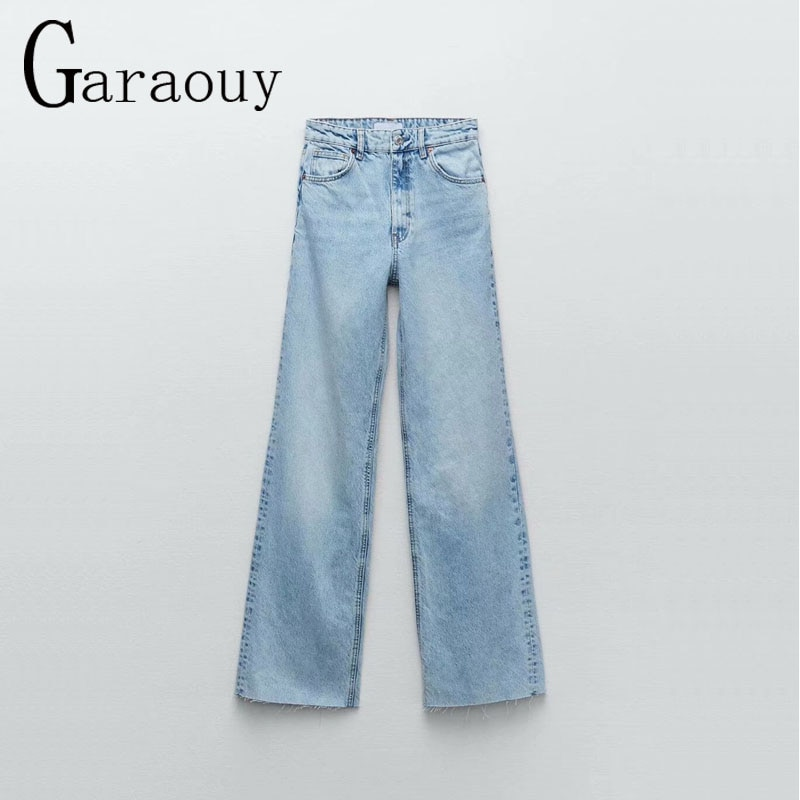Garaouy جديد لعام 2021 بنطلون جينز حريمي مرتفع الخصر بأربعة ألوان سادة بجيوب غير رسمية بنطلون مستقيم للسير في الشارع