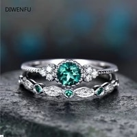 925 silver 2pc set jewelry sparkling perfect blue green round cut zircon stone rings for women engagement engagement ring gift