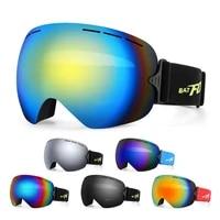 batfox brand riding cycling sunglasses double layers uv400 anti fog big windproof glasses skiing men women snowboard goggles