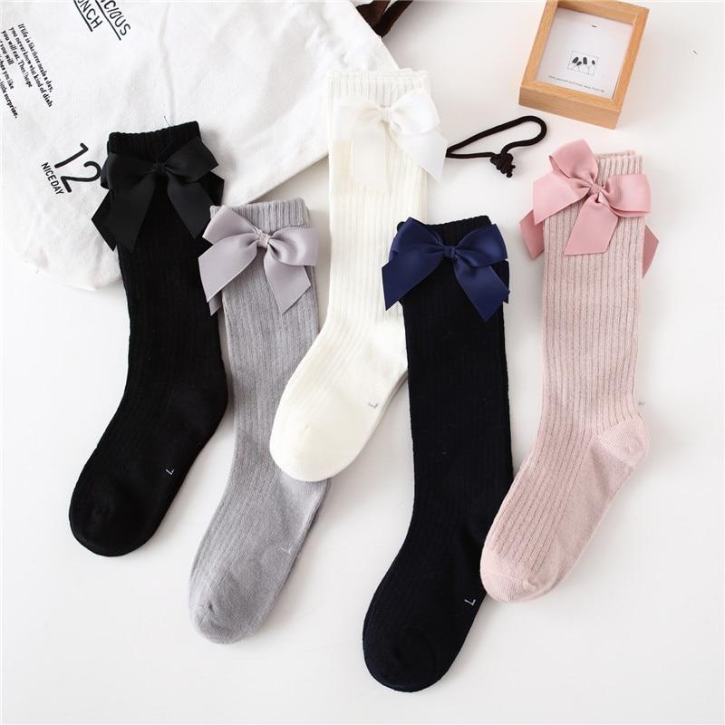 Solid Children Socks With Bows Cotton Baby Girls Socks Soft Toddlers Long Socks For Kids Princess Knee High Socks for Girls 2020