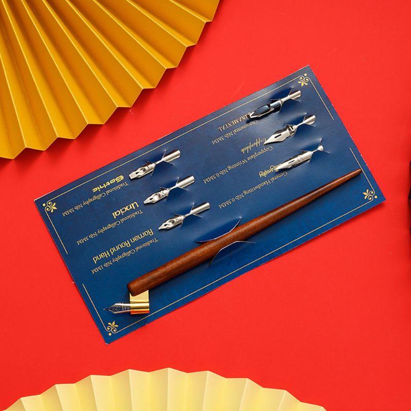 Bois Manga calligraphie Dip porte-stylo + 6 plumes pour lettrage Skiching Kit de dessin QX2B