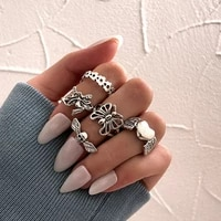 vintage gothic silver plated ring set punk 5pcs for women heart butterfly wing angel ring steampunk rings finger jewelry fashion