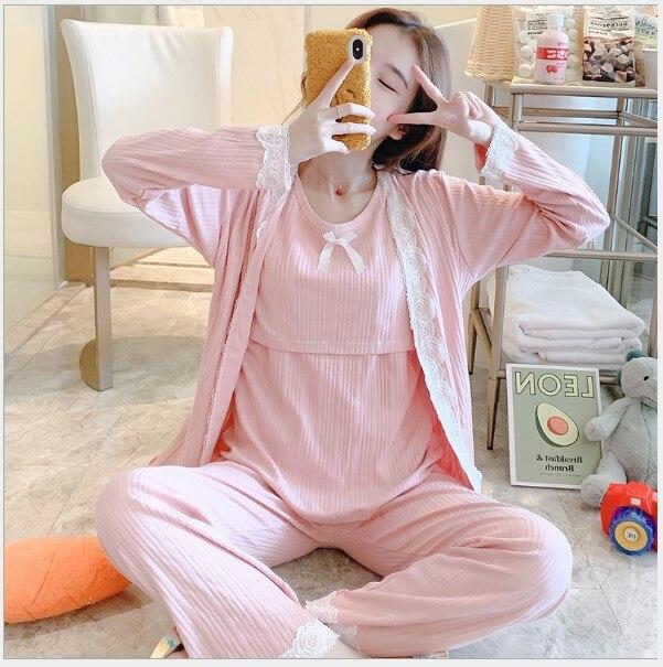 Fdfklak Autumn Breast Feeding Pajamas Suits 3 PCs/Set Maternity Nursing Sleepwear Pink/Blue Nightwear For Pregnant Women enlarge