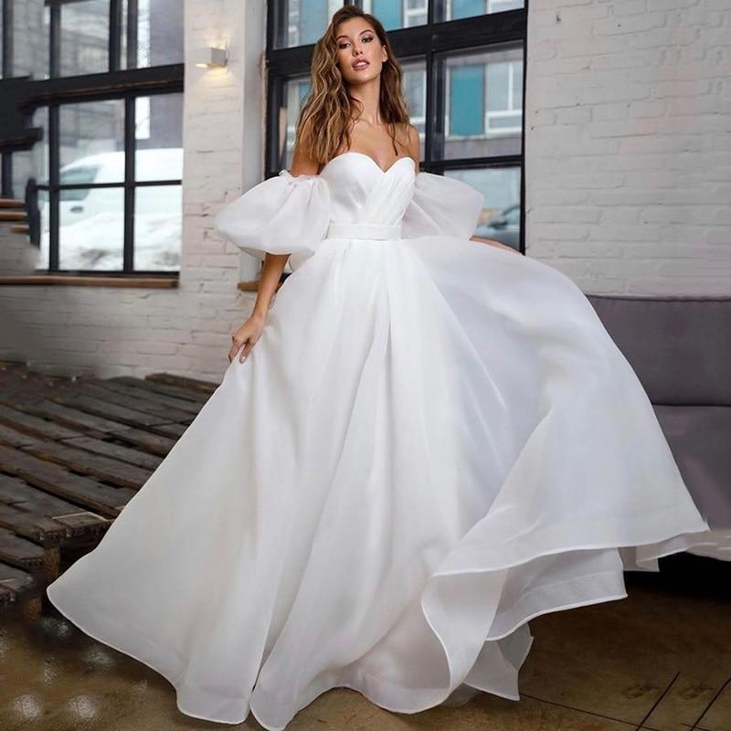 Princess White Wedding Dress Puff Short Sleeve Plus Size Bridal Dresses Lace up Back A Line Cheap Wedding Gowns Vestido de Noiva