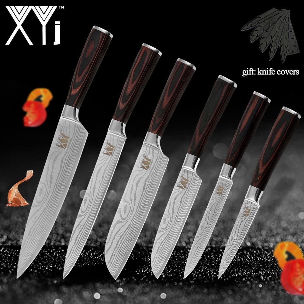 Cuchillos de cocina XYj, utensilios con cuchillas de acero inoxidable, recién llegados, mango de madera de 2019 colores, accesorios de utensilios para cocina para carne y verduras