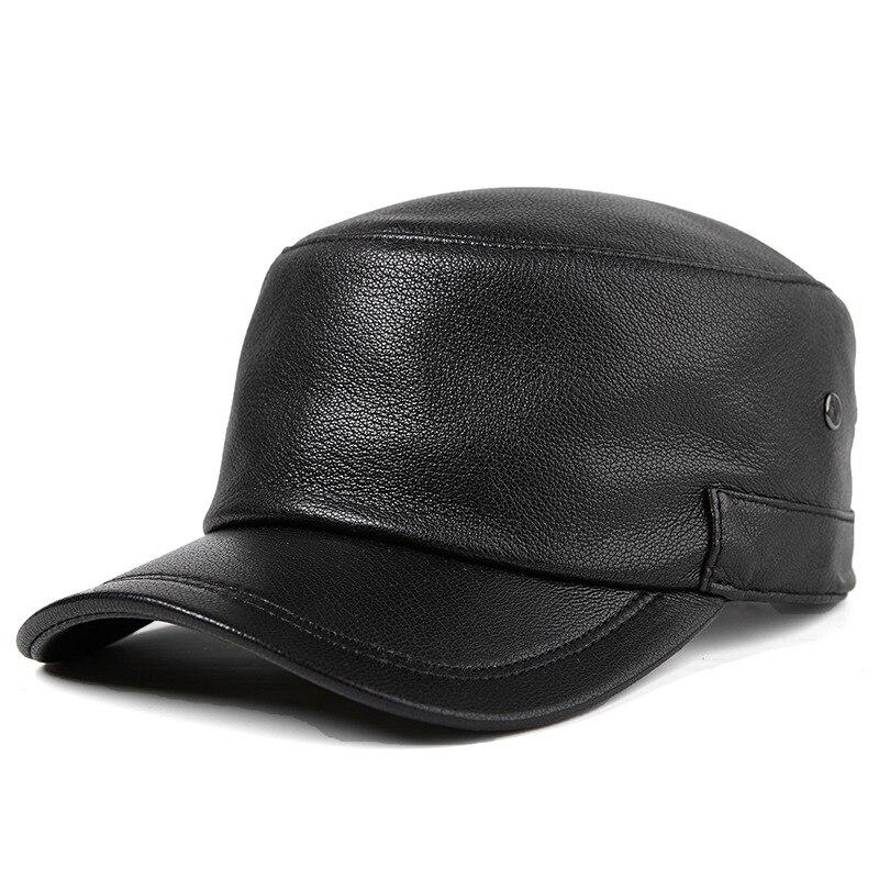 قبعة عسكرية من الجلد الطبيعي للرجال ، غطاء للأب وكبار السن في منتصف العمر ، غطاء للأذنين ، غير رسمي ، خريف وشتاء H7625