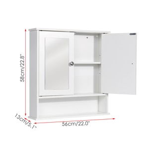58 x 56 x 13cm Bathroom Cabinet with Mirror Wall Mounted Bathroom Toilet Furniture Cabinet Cupboard Shelf Cosmetic Storager