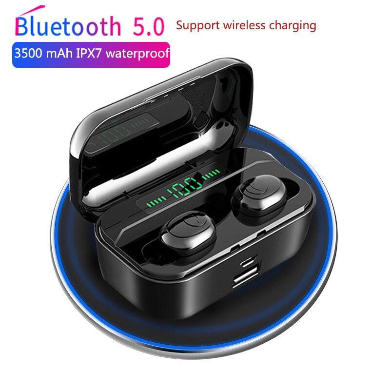 3500 mAh TWS auriculares inalámbricos Bluetooth 5,0 auriculares Led Power Display CVC8.0 DSP reducción de ruido auriculares deportivos Power bank